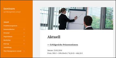 Seminar Website der Unternehmensberatung Management consult